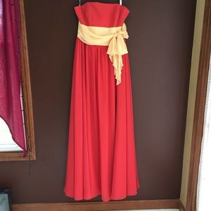 Dresses & Skirts - Dark Orange Strapless Gown, Yellow Belt